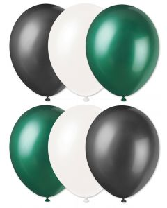 "Football Team Fan Solid Color Party 11"" Latex Balloons, Green Black White, 6 CT"