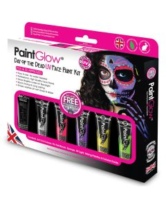 PaintGlow UV Day of the Dead Box Set 10pc 78mL Makeup Kit, Black Red Pink