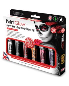 PaintGlow Day Of The Dead Box Set 6pc 78mL Makeup Kit, Purple Pink Orange