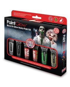 PaintGlow Halloween Blood & Glow Box Set 10pc 78mL Makeup Kit, Black Red Green