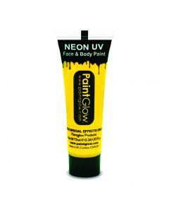 PaintGlow Neon UV Reactive Face & Body Paint 10ml Liquid Makeup, Neon Yellow