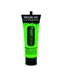 PaintGlow Neon UV Reactive Face & Body Paint 10ml Liquid Makeup, Neon Green
