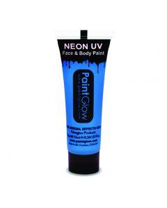 PaintGlow Neon UV Reactive Face & Body Paint 10ml Liquid Makeup, Neon Blue