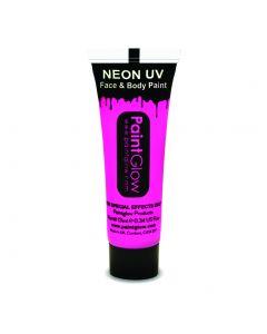 PaintGlow Neon UV Reactive Face & Body Paint 10ml Liquid Makeup, Neon Pink