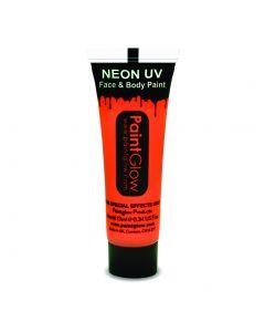 PaintGlow Neon UV Reactive Face & Body Paint 10ml Liquid Makeup, Neon Orange