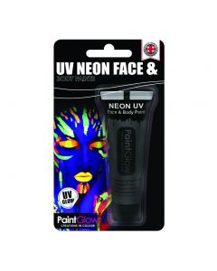 PaintGlow UV Reactive Special Effects Face & Body Paint, 10ml, Black Neon