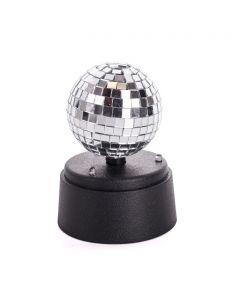 "Playmaker Toys Mini Mirror Disco Ball 5"" LED Decoration, Silver Black"
