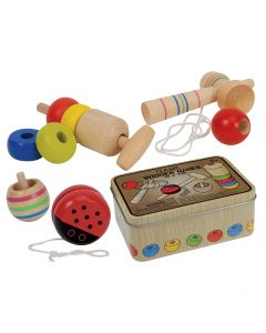 "Playmaker Toys Classic Wooden Games in a Tin 4pc 6""x4"" Game Set"