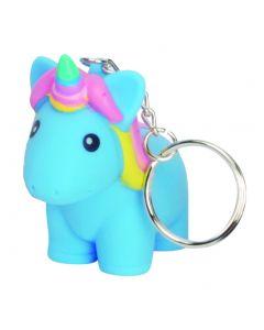 "Squeeze N' Poop Glitter Squishy Unicorn Magical Toy 3"" Keychain, Blue"