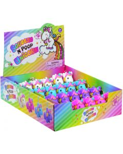 """Playmaker Toys Squeeze N' Poop Glitter Unicorn Display 3"""" Keychain, 24 Pack"""