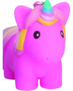 """Squeeze N' Poop Glitter Squishy Unicorn Magical Toy 3"""" Keychain, Pink"""