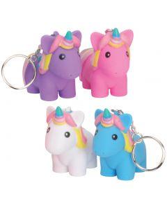 "Squeeze N' Poop Glitter Squishy Unicorn Magical 3"" Keychains, Rainbow, 4 Pack"