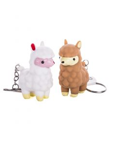 "Squeeze N' Poop Glitter Llama Keychain 4pc 4"" Novelty Toy, Brown White"
