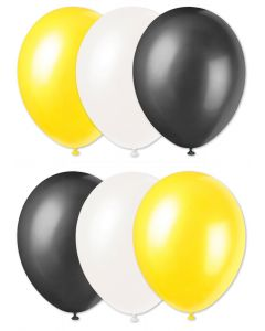 "Football Team Solid Party 11"" Latex Balloons, Black Yellow White, 6 CT"