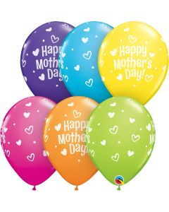 """Qualatex Mother's Day Hearts & Dots Around 11"""" Latex Balloons, 50 CT"""