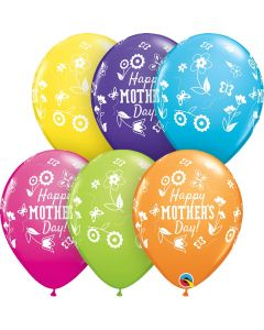 """Qualatex Mother's Day Springtime Floral Around 11"""" Latex Balloons, 50 CT"""