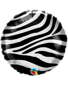 "Zebra Stripes Pattern Round Metallic 18"" Jr Shape Foil Balloon, Black White"