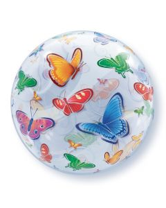 "Qualatex Colorful Springtime Flying Butterflies 22"" Bubble Balloon"