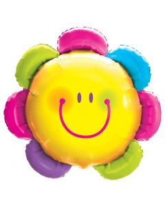 "Qualatex Smiley Face Rainbow Spring Flower Giant 32"" Foil Balloon, Yellow"