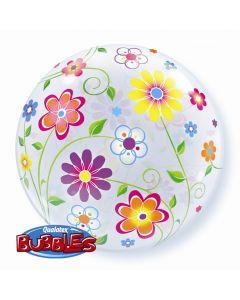 "Qualatex Colorful Springtime Mini Flowers Daisy 22"" Bubble Balloon"