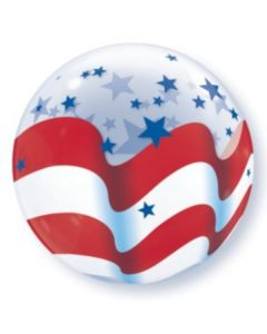 "Qualatex Patriotic Stars & Stripes Flag 22"" Bubble Balloon, Red White Blue"