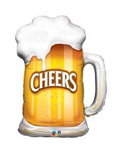 "Qualatex Cheers Foaming Brew Beer Stein Mug Drink Giant 35"" Foil Balloon, Brown"