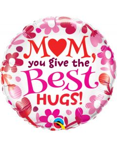 """Qualatex Mom You Give The Best Hugs Mother's Day 18"""" Foil Balloon, White"""