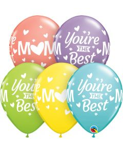 """Qualatex Mom You're The Best Around 11"""" Latex Balloons, 50 CT"""