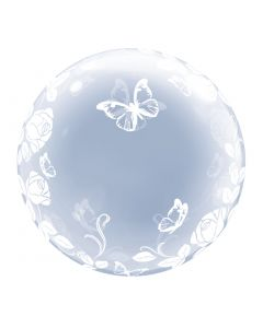 "Qualatex Elegant Roses and Butterfly 24"" Bubble Balloon, Transparent"