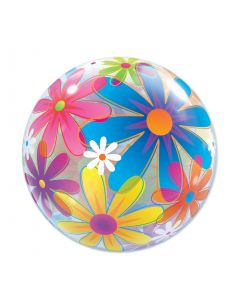 "Qualatex Colorful Springtime Fanciful Flowers 22"" Bubble Balloon"