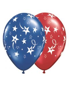 "Shooting Stars Design Patriotic 11"" Latex Balloons, Ruby Red Saphire Blue, 10 CT"