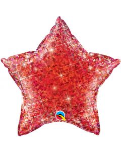 """Qualatex Patriotic 4th of July Holographic Star Shape 20"""" Foil Balloon, Red"""