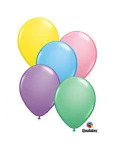 """Qualatex Pastel Solid Helium Quality 11"""" Latex Balloons, Assorted Colors, 100 CT"""
