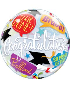 "Qualatex Congratulations Graduation Accolades 22"" Bubble Balloon, Clear Multi"
