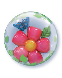 "Qualatex Bright Flower & Butterfly 24"" Bubble Balloon, Pink Blue Green"