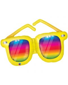 "Qualatex Summer Rainbow Striped Sunglasses 42"" Jumbo Foil Balloon, Yellow Multi"
