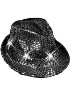 "Veil Entertainment Sequin Light Up Flashing Fedora LED Hat, One-Size 7"", Black"