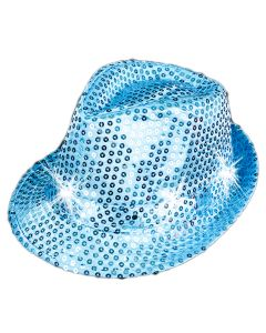 "Sequin Light Up Flashing Fedora LED Hat, One-Size 7"", Sky Blue"