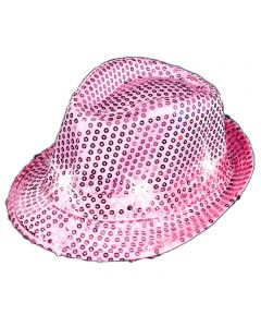 "Veil Entertainment Sequin Light Up Flashing Fedora LED Hat, One-Size 7"", Pink"