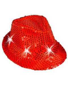 "Veil Entertainment Sequin Light Up Flashing Fedora LED Hat, One-Size 7"", Red"