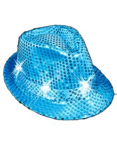 "Veil Entertainment Sequin Light Up Flashing Fedora LED Hat, One-Size 7"", Teal"