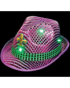 Mardi Gras Light-up Fleur de lis Sequined Hat - Adult One Size Party Wear