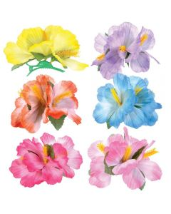 Veil Entertainment Hawaiian Luau Hibiscus Hair Clips, Assorted, One Size, 6 Pack