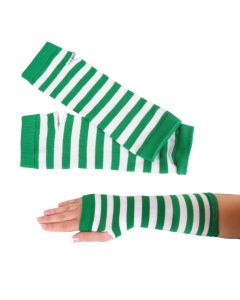"""12 Pairs of St Patrick's Green White Striped Irish 11.5"""" Arm Warmers Gloves"""