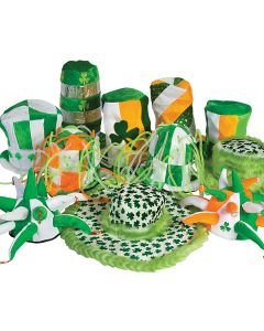 Bulk Lot 24 Assorted St Patrick's Day Novelty Party Bar Hop Hats, Green, Adult