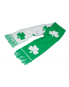 "St Patricks Day Shamrocks Irish Warm Scarf, Green White, One Size 48"" L, 12 Pack"