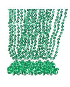 "12ct Shamrock 32"" 8mm Beads Necklaces, Metallic Green St Patricks Day Favors"