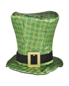 "Rinco St. Patrick's Leprechaun Shamrock Top Hat, Green Black, 9.5"""