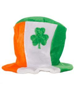 "St Patrick Day Tri-Color Irish Shamrock Party Top Hat, Green Orange, O-S 8""T"