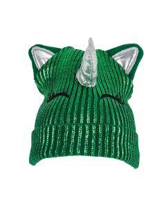 Rinco Cute St Patrick's Unicorn w Ears & Horn Beanie Hat, Green Silver, One-Size